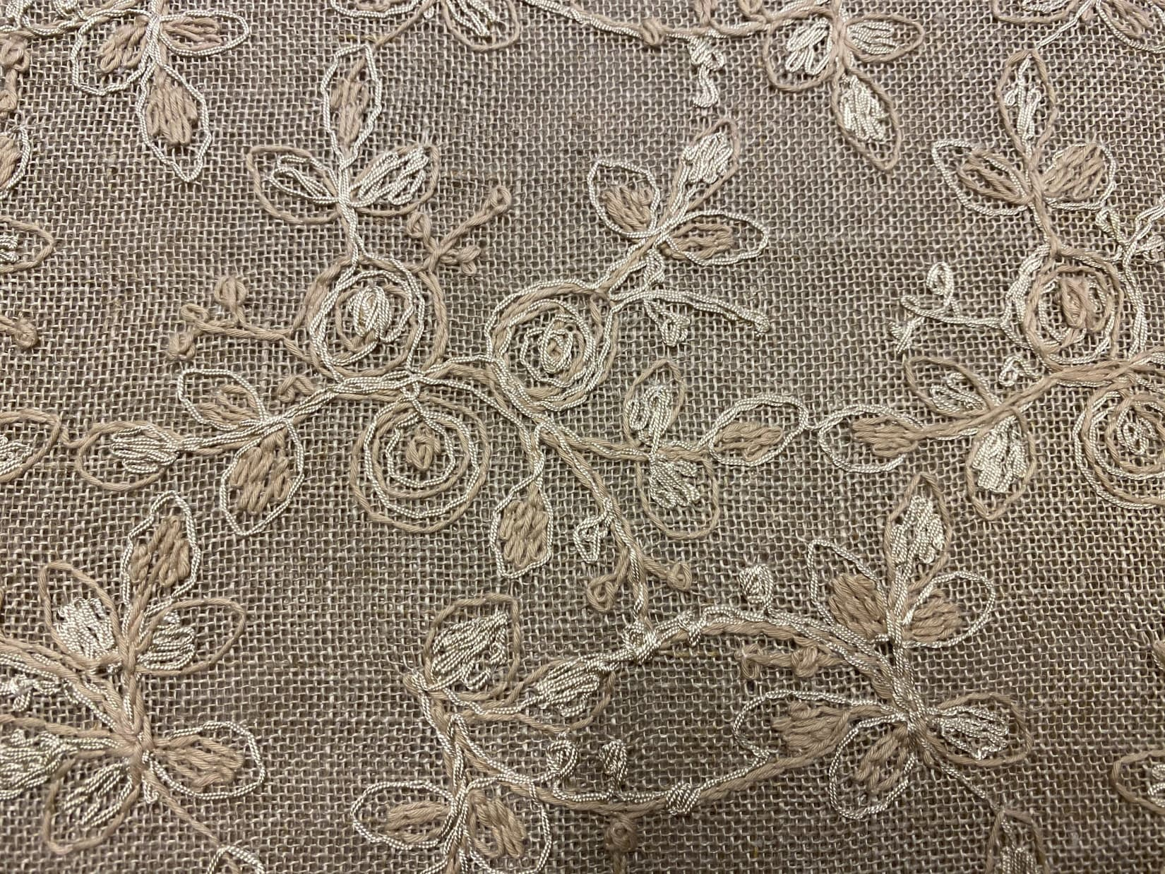 Linen sand color – beige gold embroidery